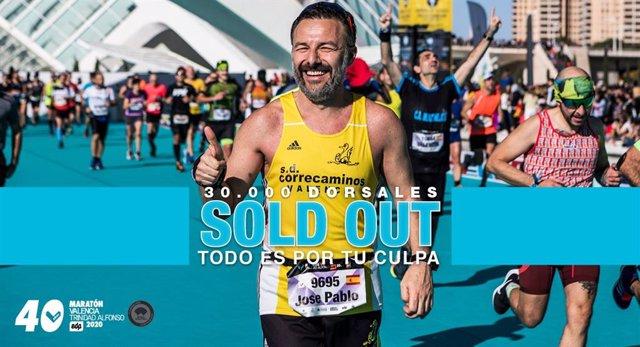 El Maratón València vende sus 30.000 dorsales en menos de tres meses y abrirá un