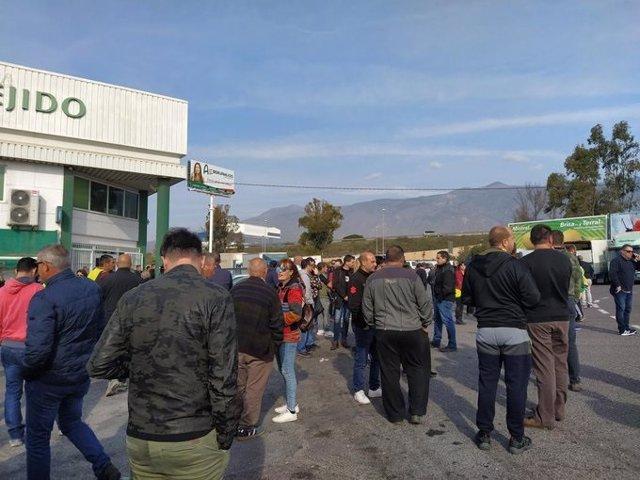 Agricultores en la protesta en Almería