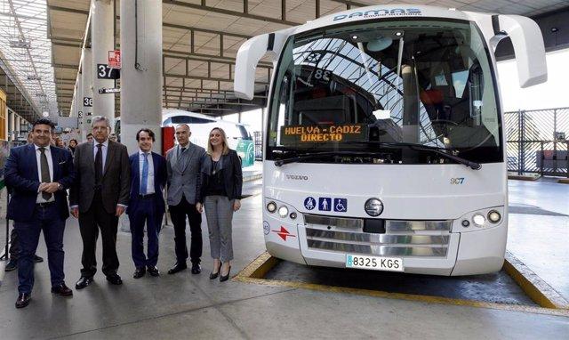 18/02/2020  Josã Luis Montero  Visita Obras De La Estaciãn De Autobuses Y Anuncia La Puesta En Marcha La Conexiãn De Autobuses Cã¡Diz-Huelva