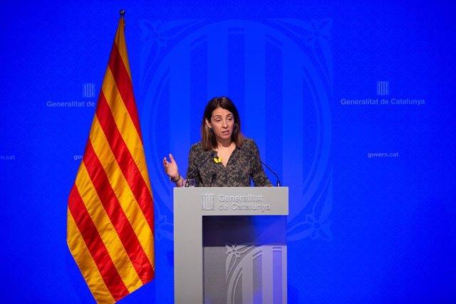 La consellera de Presidencia y portavoz del Govern, Meritxell Budó, ofrece una rueda de prensa posterior al Consell Executiu en el Palacio de la Generalitat, en Barcelona (España), a 18 de febrero de 2020.