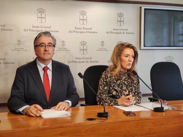 Rueda de prensa de la portavoz del PP en la Junta, Teresa Mallada, y el diputado Pablo González.
