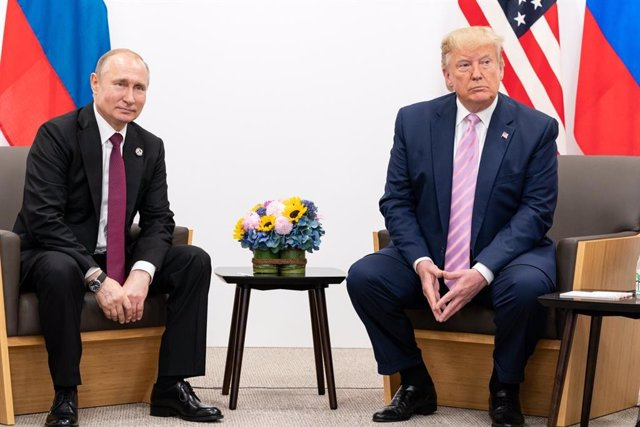 June 28, 2019 - Osaka, Japan: President Donald Trump participates in a bilateral meeting with the President of the Russian Federation Vladimir Putin during the G20 Japan Summit. (Shealah Craighead/ The White House / Contacto)