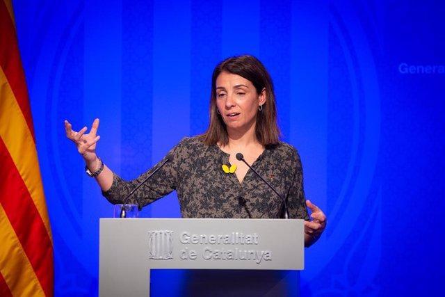 La consellera de la Presidncia i portaveu del Govern, Meritxell Budó, ofereix una roda de premsa posterior al Consell Executiu al Palau de la Generalitat, Barcelona (Espanya), 18 de febrer del 2020.