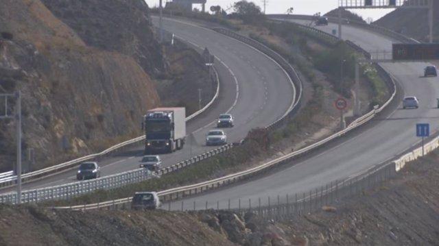 Autovía A-7 a su paso por Roquetas de Mar (Almería)