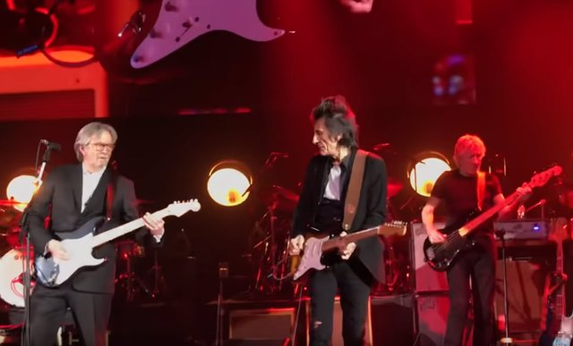 Eric Clapton, Ron Wood y Roger Waters