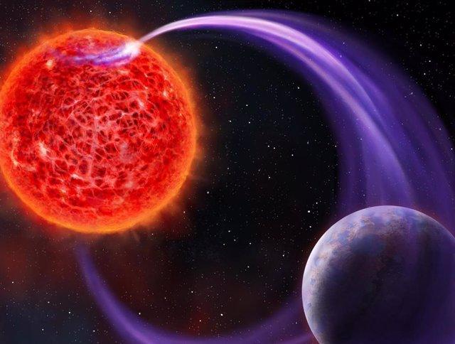 Impresión artística de la interacción magnética de una estrella enana roja con su exoplaneta.