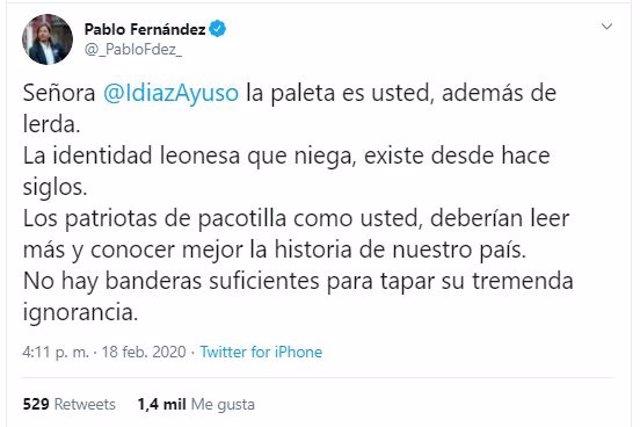 Captura de pantalla del tuit del secretario general de Podemos en Castilla y León, Pablo Fernández, en el que se refiere a la presidenta de la Comunidad de Madrid, Isabel Díaz Ayuso.