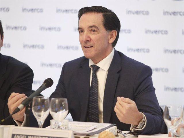 El presidente de Inverco, Ángel Martínez-Aldamam durante la presentación de las previsiones para los fondos y planes de pensiones para 2020 de la patronal Inverco, en Madrid (España), a 12 de febrero de 2020.