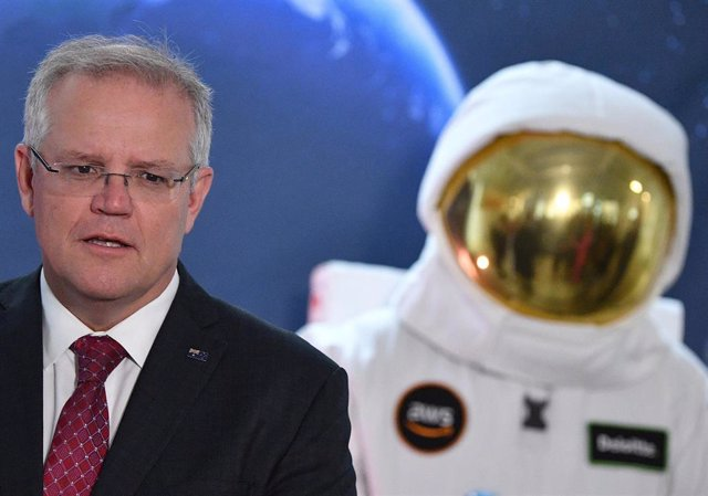 El primer ministro de Australia, Scott Morrison, durante la presentación de la Agencia Espacial australiana.