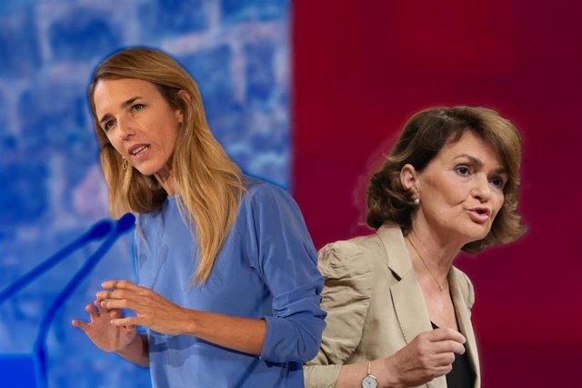 La portavoz del PP en el Congreso de los Diputados, Cayetana Álvarez de Toledo, y la vicepresidenta primera , Carmen Calvo