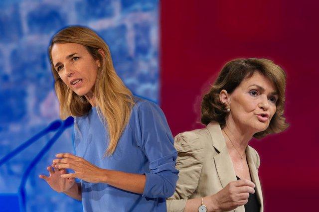 La portaveu del PP al Congrés dels Diputats, Cayetana Álvarez de Toledo, i la vicepresidenta primera , Carmen Calvo