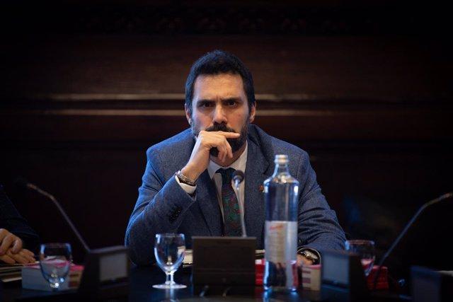 El president del Parlament, Roger Torrent,  durant la reunió de la Mesa al Parlament de Catalunya, a Barcelona (Espanya), a 18 de febrer del 2020.