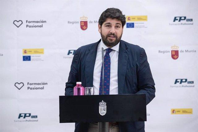 El presidente de la Comunidad, Fernando López Miras, presenta 20 medidas prioritar ias del Gobierno regional en materia de Forma ción Profesional para 2020