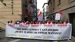 Manifestación de agricultores y ganaderos en Pamplona