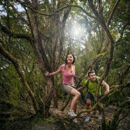 Turistas en un sendero en Canarias