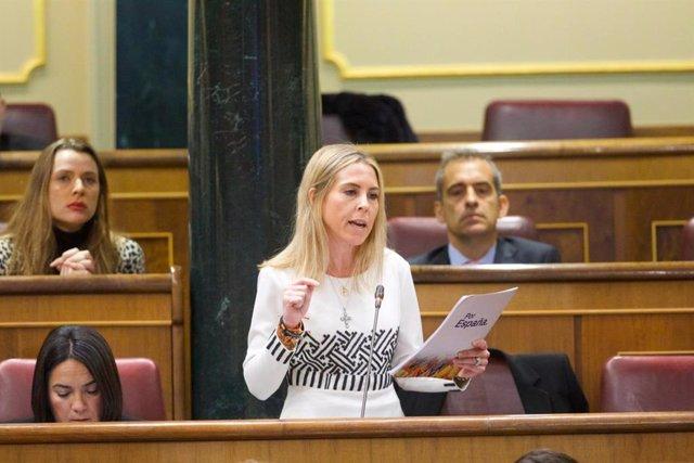 La diputada de Vox María Teresa López Álvarez durante la sesión de control al Gobiero en el Congreso