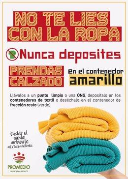 Cartel de la campaña por el buen uso de los contenedores de residuos.