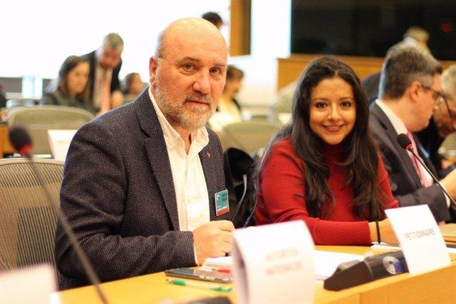 El coordinador de Izquierda Unida en la Región de Murcia, José Luis Álvarez Castellanos, en Bruselas