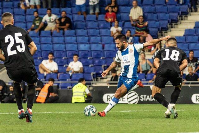 Matías Vargas, #22 of RCD Espanyol during the UEFA Europa League Play-Off, 1nd leg match between RCD Espanyol and FC Zorya Luhansk at RCDE Stadium, in Barcelona, Spain. August 22, 2019.