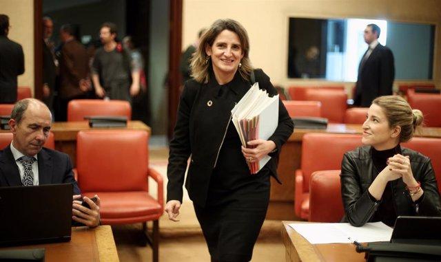 La vicepresidenta cuarta y ministra para la Transición Ecológica y el Reto Demográfico, Teresa Ribera, a su llegada a la Comisión de Transición Ecológica del Congreso