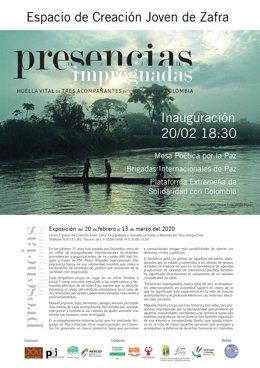 Cartel de una exposición en Zafra sobre la labor en Colombia de las Brigadas Internacionales de Paz