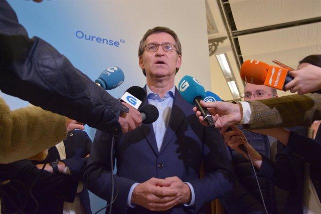 El líder del PPdeG y candidato a la reelección a la Xunta de Galicia, Alberto Núñez Feijóo, en Ourense