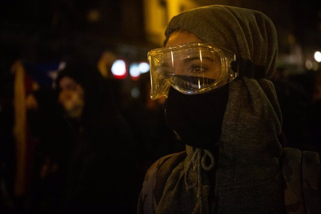 Aldarulls després de la manifestació a Barcelona en rebuig contra la sentència de l'1-O i per demanar la llibertat dels presos, 26 d'octubre del 2019.