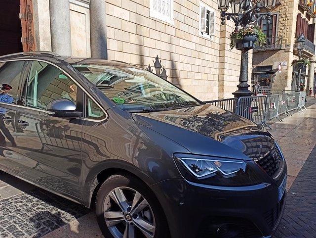 El vicepresident i conseller d'Economia del Govern, Pere Aragonès, surt de la Generalitat amb cotxe després de reunir-se amb el president Quim Torra, 20 de febrer del 2020.