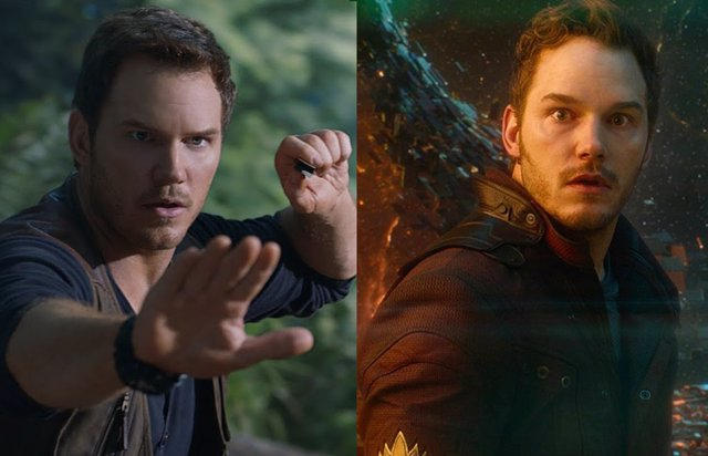 Chris Pratt en Jurassic World y en Vengadores: Endgame