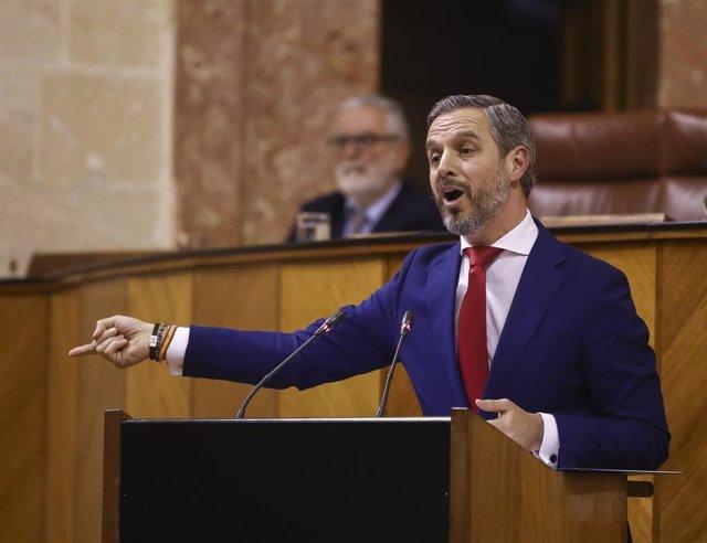 El consejero de Hacienda, Juan Bravo, en el Pleno del Parlamento