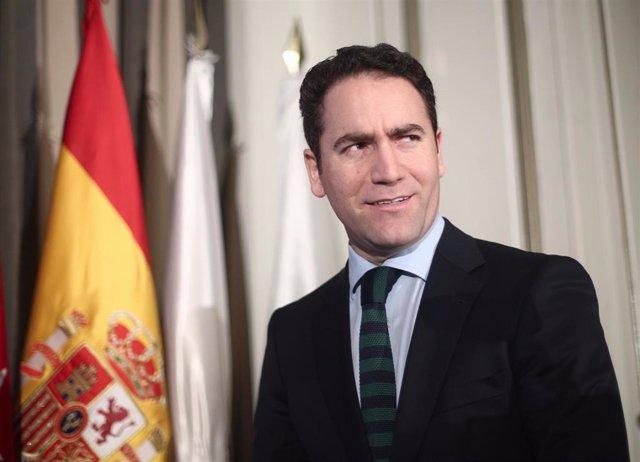El secretario general del PP, Teodoro García Egea, durante la conferencia coloquio 'Agenda Urbana 2030 Foro de la nueva ciudad', organizado por Nueva Economía Fórum, en Madrid (España), a 18 de febrero de 2020.