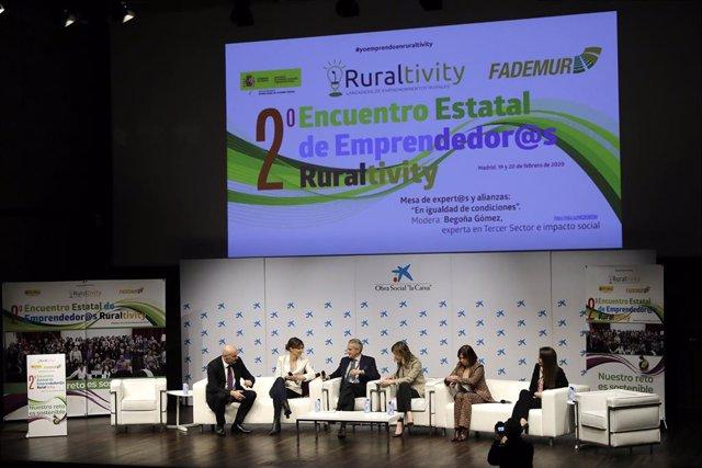 2º Encuentro Estatal de Emprendedor@s Ruraltivity, organizado por la Federación de Asociaciones de Mujeres Rurales (FADEMUR) en el salón de actos de CaixaForum, en Madrid (España), a 20 de febrero de 2020.
