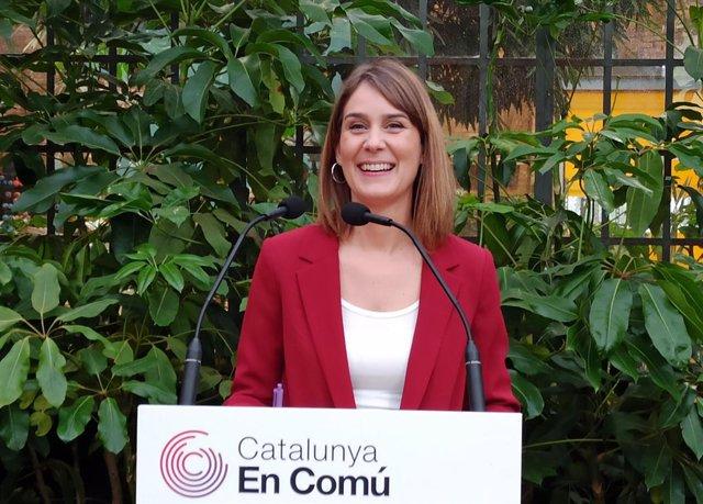 La líder dels comuns al Parlament, Jéssica Albiach, en la presentació de la seva candidatura a les primàries de CatComú.