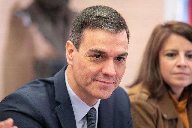 El presidente del Gobierno, Pedro Sánchez durante la reunión de la Comisión Permanente de la Ejecutiva Federal del PSOE en la sede del PSOE (Ferraz), en Madrid (España), a 17 de febrero de 2020.
