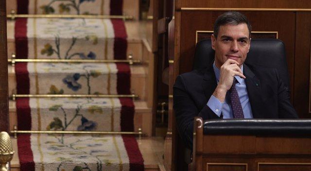 El presidente del Gobierno, Pedro Sánchez, durante una sesión de control al Gobierno en el Congreso de los Diputados, Madrid (España), a 19 de febrero de 2020.