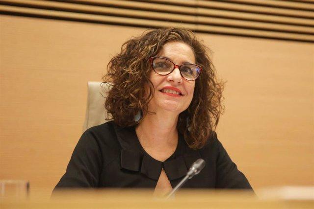 La ministra de Hacienda y portavoz del Gobierno, María Jesús Montero, durante su comparecencia en la Comisión de Hacienda del Congreso de los Diputados, para explicar las líneas generales de la política de su Departamento.