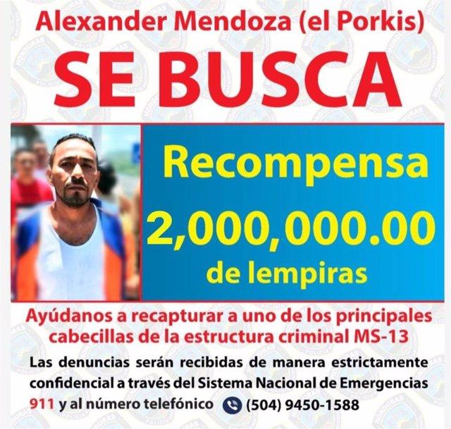 Cártel con recompensa para detener a Alexander Mendoza, 'Porkis'