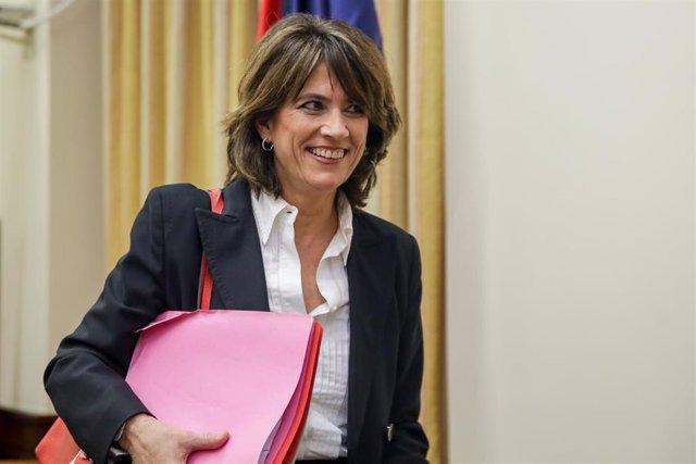 La exministra de Justicia y fiscal Dolores Delgado a su llegada a la Comisión de Justicia del Congreso de los Diputados para comparecer en relación con su propuesta de nombramiento como Fiscal General del Estado, en Madrid (España) a 20 de febrero de 2020