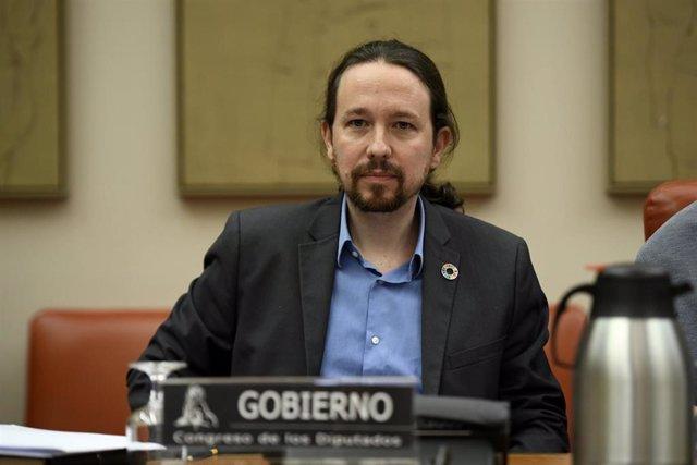 El vicepresidente segundo y ministro de Derechos Sociales y Agenda 2030, Pablo Iglesias interviene por primera vez en la Comisión de Derechos Sociales y Políticas Integrales de la Discapacidad en el Congreso de los Diputados, en Madrid (España), a 13 de f