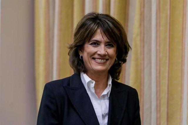 La exministra de Justicia Dolores Delgado, a su llegada a la Comisión de Justicia del Congreso de los Diputados para comparecer en relación con su propuesta de nombramiento como Fiscal General del Estado, en Madrid (España) a 20 de febrero de 2020.