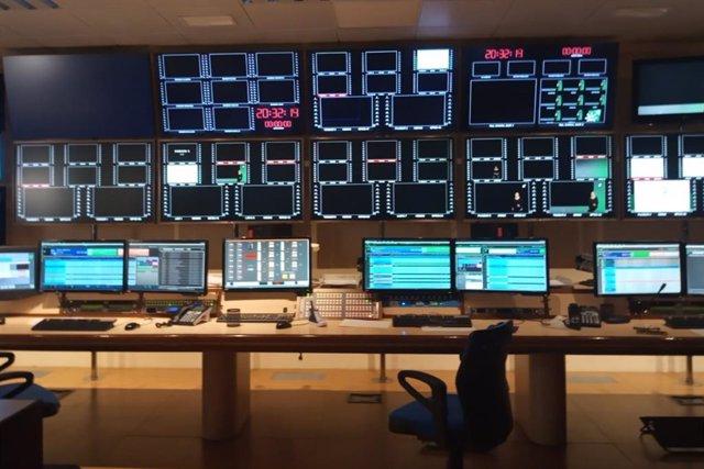 Sala de control de Canal Sur en el momento del paro