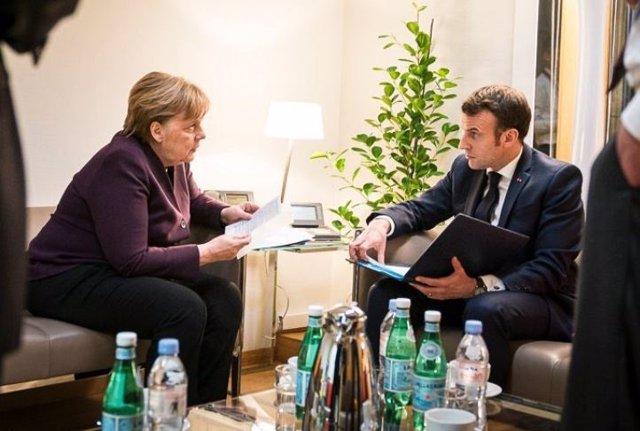 Merkel y Macron durante un encuentro en Bruselas.