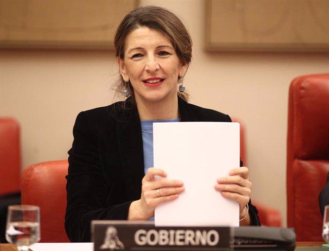 La ministra de Trabajo y Economía Social, Yolanda Díaz, durante su comparecencia en  la Comisión de Trabajo del Congreso