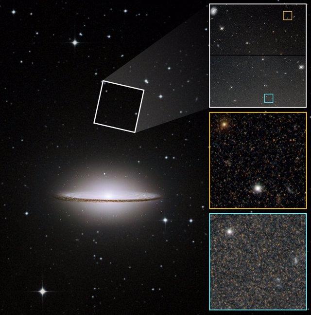 Imagen de la galaxia Sombrero (M104) que incluye una porción del halo mucho más débil que se encuentra muy lejos de su disco brillante y protuberancia. El Hubble fotografió dos regiones en el halo (una  en el recuadro) para este estudio