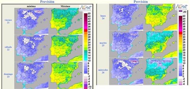 Mapa elaborado por la Aemet sobre la previsión meteorológica en CyL para los carnavales 2020