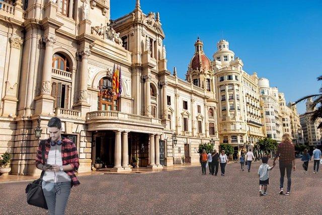 Figuración del asfaltado de la Plaza del Ayuntamiento de València