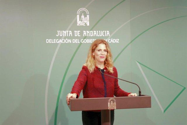 La delegada del Gobierno de la Junta en Cádiz, Ana Mestre, en rueda de prensa