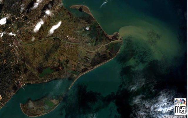 Imagen aérea del Delta del Ebro, después del paso del temporal Gloria