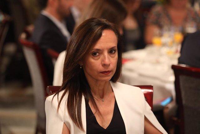 """La diputada del PSOE por Madrid y exministra de Vivienda, Beatriz Corredor, durante el Foro Inmobiliario Europa Press """"Los retos del acceso a la vivienda"""" en el Hotel Villa Magna de Madrid."""