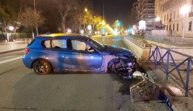Accidente en el paseo de Zorrilla de Valladolid.